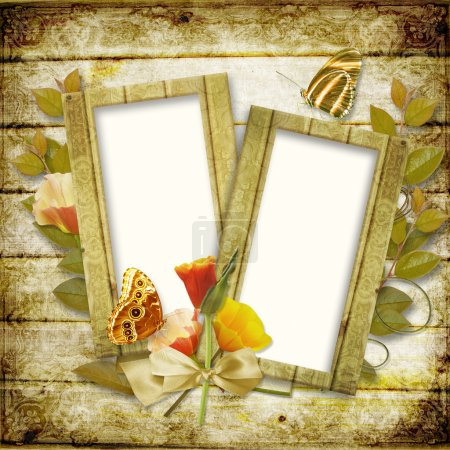 Frame for photo with flowers and butterflies