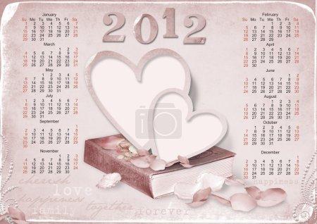 Photo pour Calendrier 2012 avec cadre-photo pour l'amour. la semaine commence avec le dimanche - image libre de droit