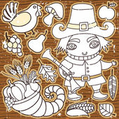 Grunge Thanksgiving elements on the wooden background Pilgrim boy turkey cornucopia vegetables fruits and autumn leaves Thanksgiving series 3