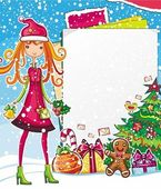 Christmas shopping theme: vector illustration of a pretty girl with Xmas bell standing near the blank message board lots of holiday decorations