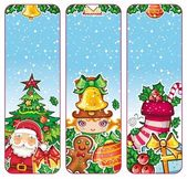 Christmas holiday vertical banners: Santa Claus Children Decorations Presents Christmas tree gingerbread man holly snowflakes