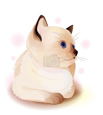 Portrait of blue-eyed little Siamese kitten. Watercolor style