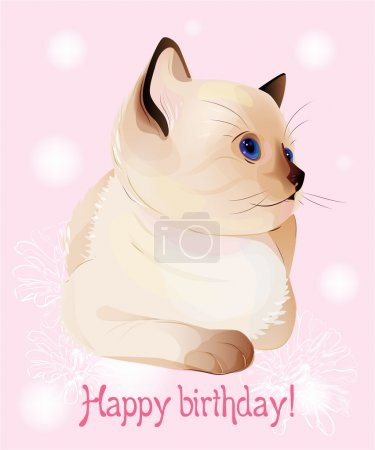 Happy birthday greeting card with blue-eyed little Siamese k
