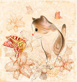 Birthday card with little kitten flowers and butterflies