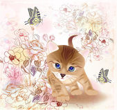 Retro birthday greeting card with little tabby kitten flowers