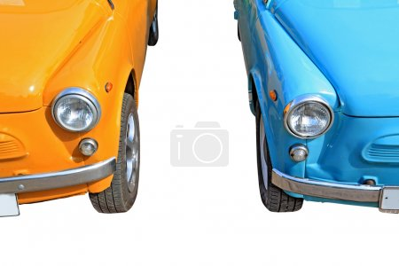 Retro cars on white background