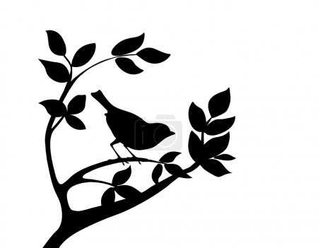 Illustration for Vector silhouette bird on tree - Royalty Free Image