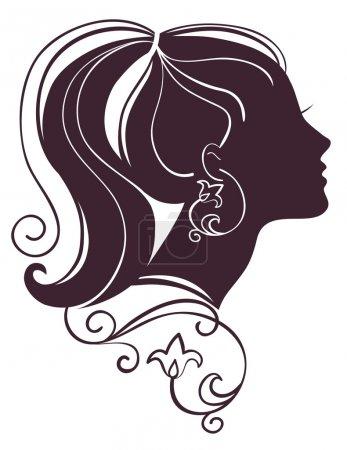 Illustration pour Belle silhouette femme avec des fleurs - image libre de droit