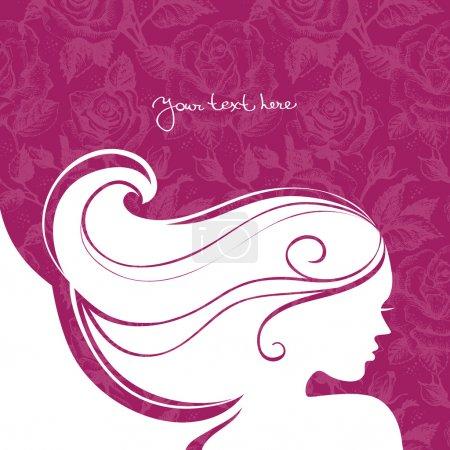 Illustration pour Arrière-plan avec belle silhouette fille - image libre de droit