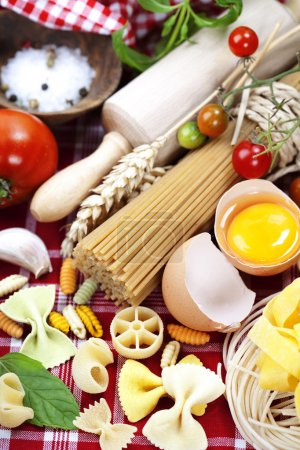 Photo for Composition of pasta and fresh ingredients - Royalty Free Image