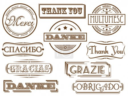 Illustration for Thank you in different languages. Vector retro stamps - Royalty Free Image