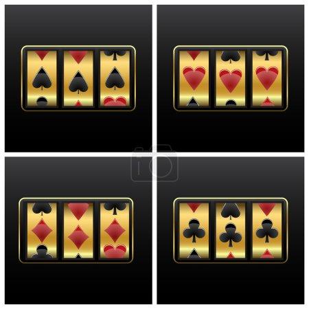 Illustration pour Jouer aux cartes machine à sous sur fond blanc, illustration d'art vectoriel abstrait - image libre de droit