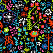 Floral seamless pattern endless texture with bright cartoon flo