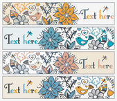 Floral banners stylish floral banners set of four horizontal