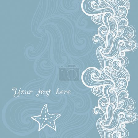Illustration for Background waves and starfish, maritime pattern - Royalty Free Image