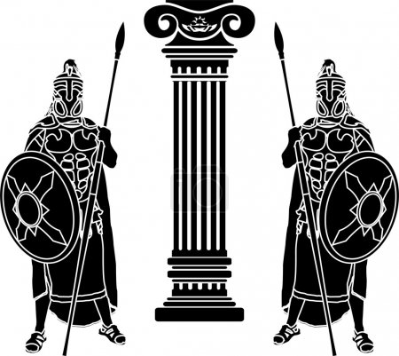 Illustration pour Deux hoplites et une colonne. Au pochoir. illustration vectorielle - image libre de droit