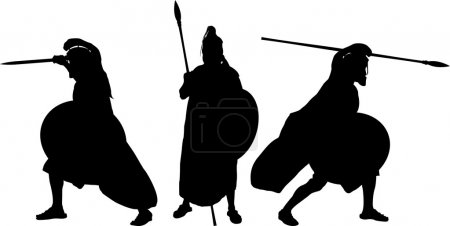Silhouettes of ancient warriors. vector illustrati...
