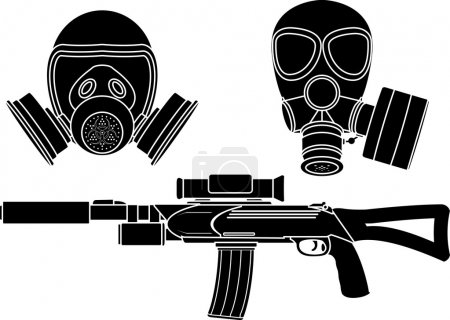 Illustration for Sniper rifle and gas masks. stencil. vector illustration - Royalty Free Image