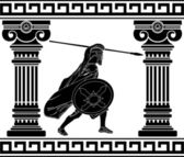 Black warrior with with columns second variant vector illustration