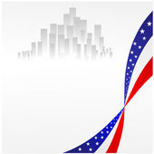 Vector illustration of an American flag and the city