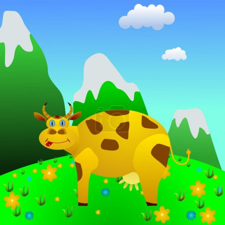Illustration for Cow on a mountain meadow. vector - Royalty Free Image