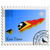 Vector stamp with the image maps of East Timor