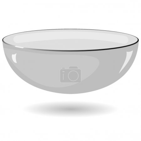 Vector illustration of a metal bowl on a white bac...