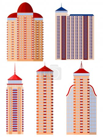 Illustration for Set of vector illustrations of apartment buildings - Royalty Free Image