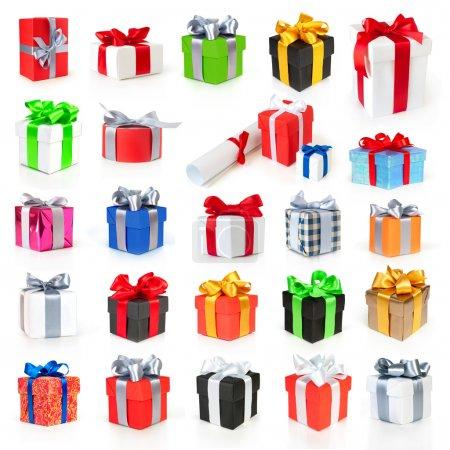 Photo pour Collection de boîtes cadeaux couleur avec rubans et noeud isolé sur blanc - image libre de droit