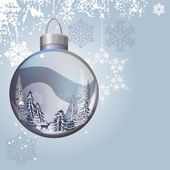 Light blue Christmas background with glass ball
