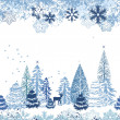 Beautiful seamless blue pattern with winter forest...