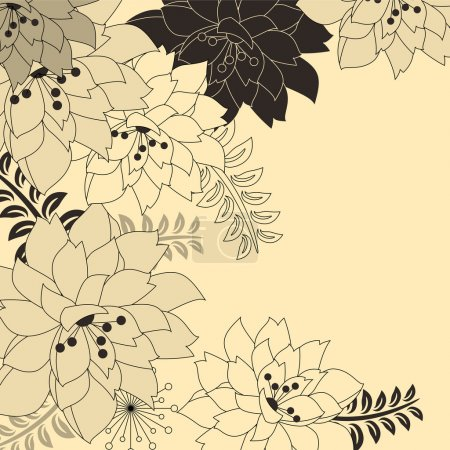Illustration for Stylish floral beige background with contour flowers - Royalty Free Image