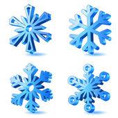 Vector christmas 3d snowflake icons