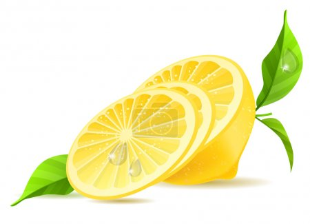 Illustration for Half of lemon and slices with leaves isolated - Royalty Free Image