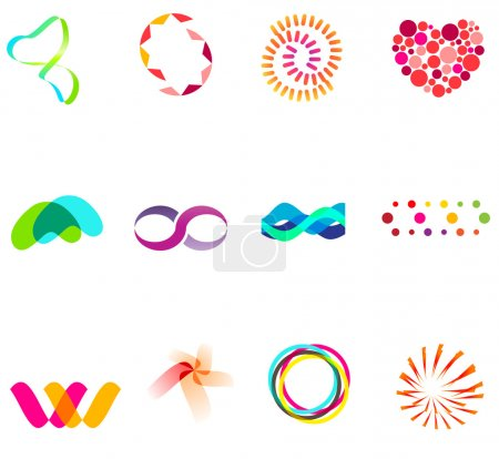Illustration for 12 different colorful vector symbols: (set 25) - Royalty Free Image