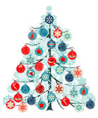 Stylized Christmas tree made of various contour balls