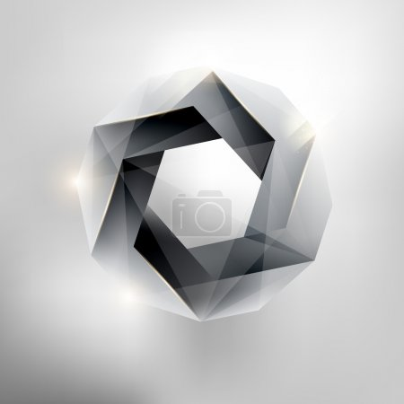 Illustration for Volumetric hexagon. White geometric form. - Royalty Free Image