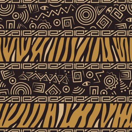 Illustration pour Modèle sans couture de style africain avec peaux d'animaux sauvages et symboles anciens - image libre de droit