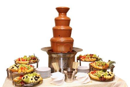 Photo pour Fondue au chocolat avec fruits - image libre de droit