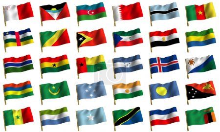 Collage from flags of the different countries of the world. icon