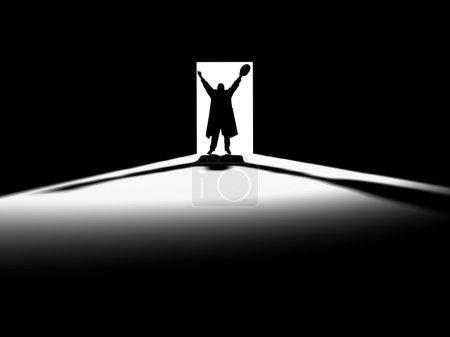 Foto de Dentro de una habitación con la puerta abierta - Imagen libre de derechos
