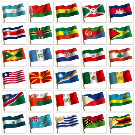 Photo pour Collage de drapeaux des différents pays du monde. icône. 3D - image libre de droit