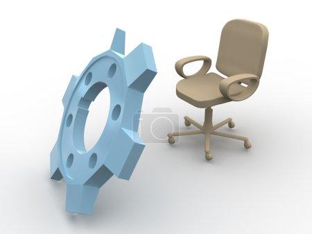 Photo pour Chaise de bureau. 3D - image libre de droit