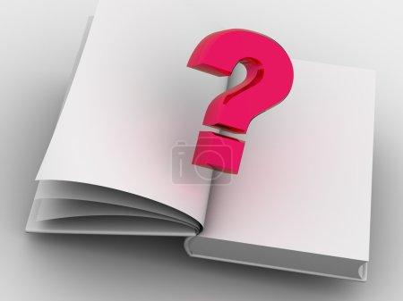 Photo pour Le livre et la question. 3d - image libre de droit