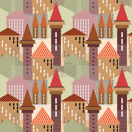 Abstract town. Seamless pattern.