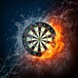 Darts Board in Fire and Water Isolated on Black Ba...