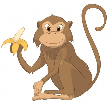 Illustration for Cartoon Character Monkey Isolated on White Background. Vector. - Royalty Free Image
