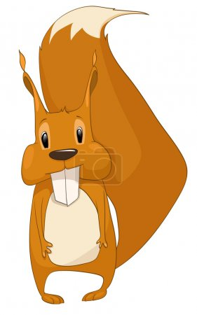 Illustration for Cartoon Character Squirrel Isolated on White Background. Vector. - Royalty Free Image