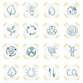 Sticker Eco Icon Set Isolated on White Background Vector EPS8