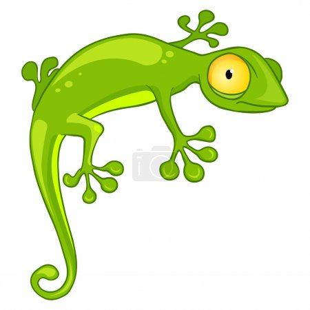 Cartoon Character Lizard Isolated on White Backgro...